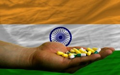 Indian flag, hand and tablets