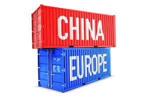 China and Europe on shipping containers