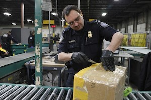 CBP officer checking mail