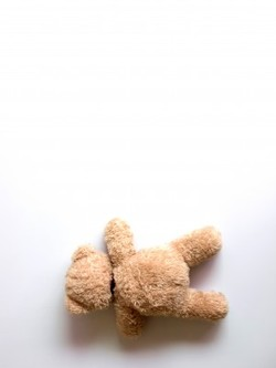Teddy bear falling