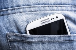 Samsung phone in pocket